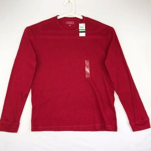 Club Room Mens Large Thermal Henley Shirt Red